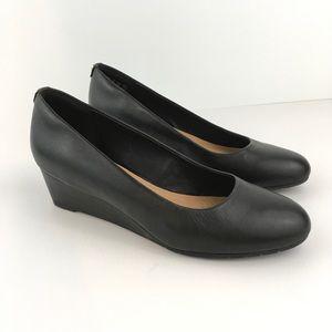 New Clarks Vendra Bloom Leather Wedge Heels Black